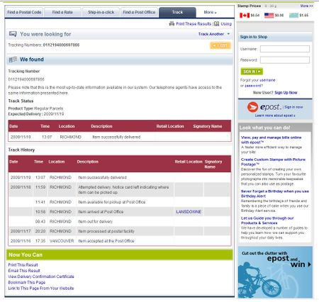 Canada Post Tracking Page